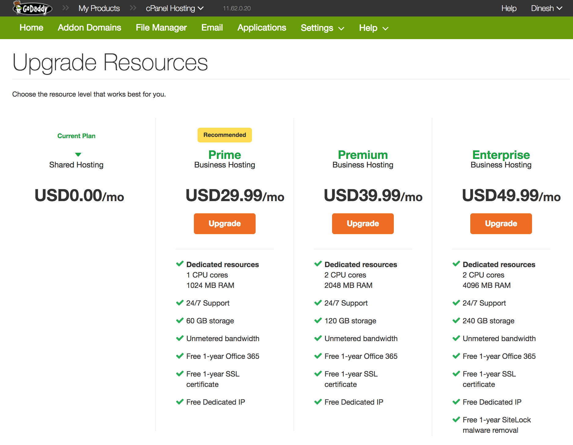 Godaddy business plan comparison